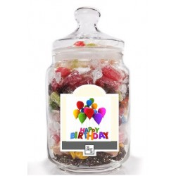 Happy Birthday Jar with Balloons label