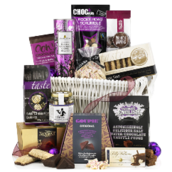 White Wicker Hamper packed with Treats.