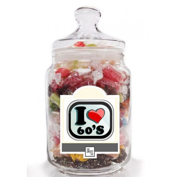 I Love the 60's Retro Sweet jar