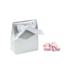 12 x Silver Tent Favor Boxes With Ribbon, sweets and personalised gift tag