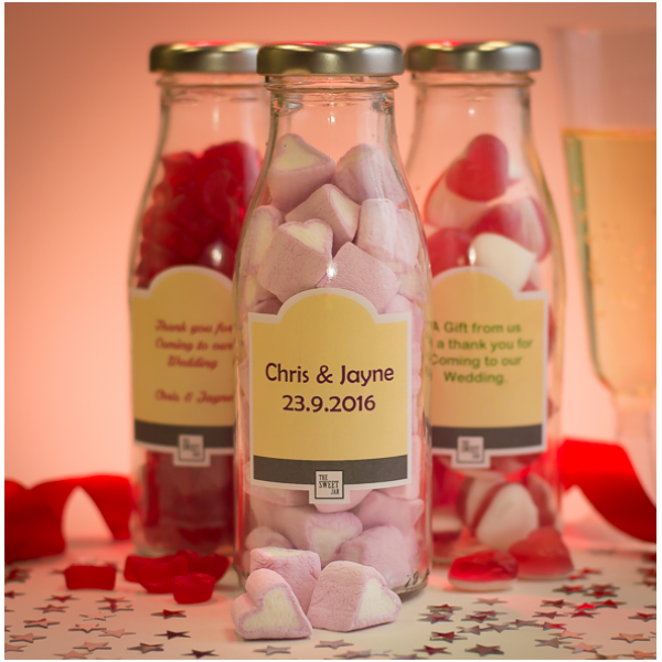 Mini Milk Bottle Wedding Favours - Set of 10