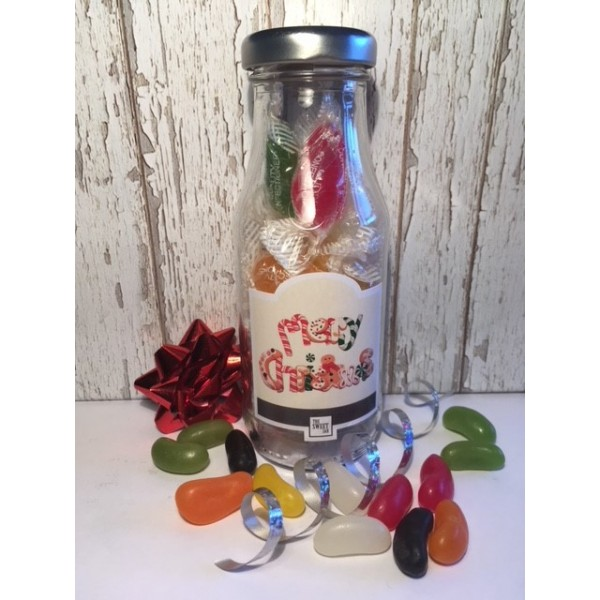 Christmas Mini Milk Bottles - Set of Three