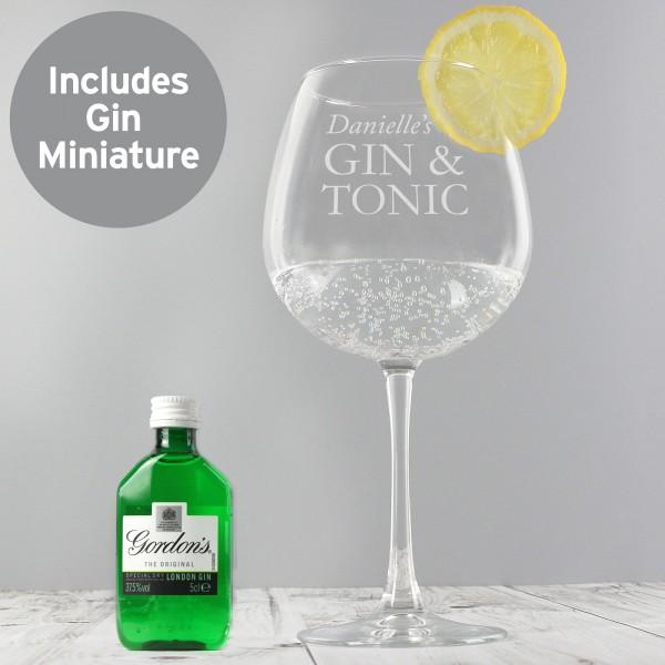 Gin & Tonic Balloon Glass with Gin Miniature Set