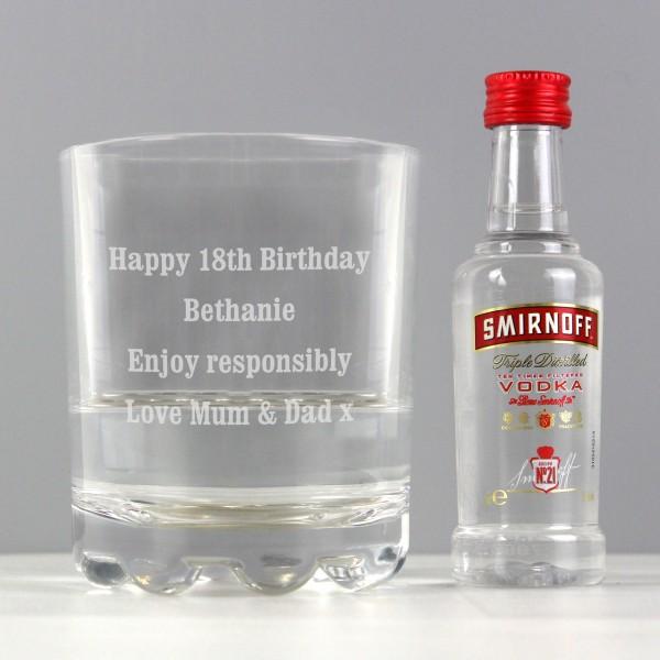Tumbler and Smirnoff Vodka Miniature Set