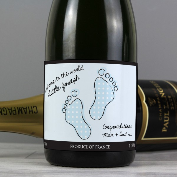 Baby Footprint Blue Label Champagne