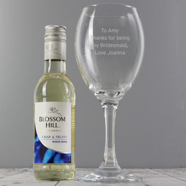 White Wine & Any Message Wine Glass Set
