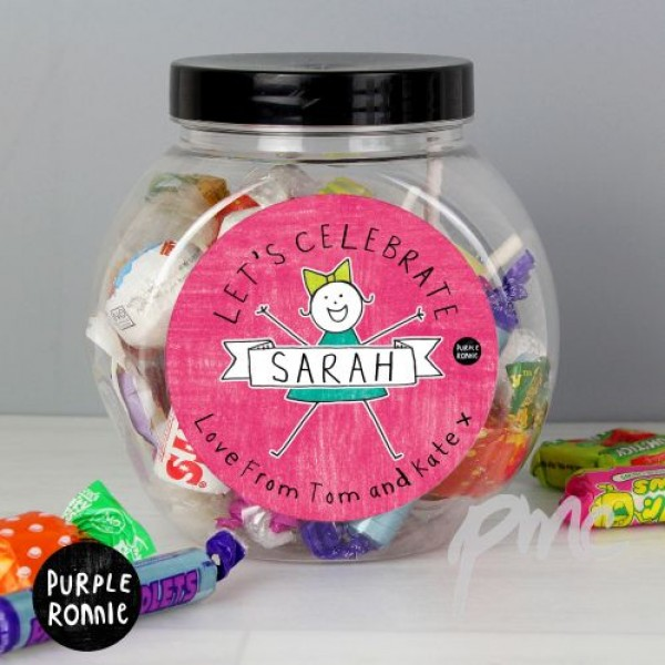 Personalised Purple Ronnie For Her Celebration Sweet Jar